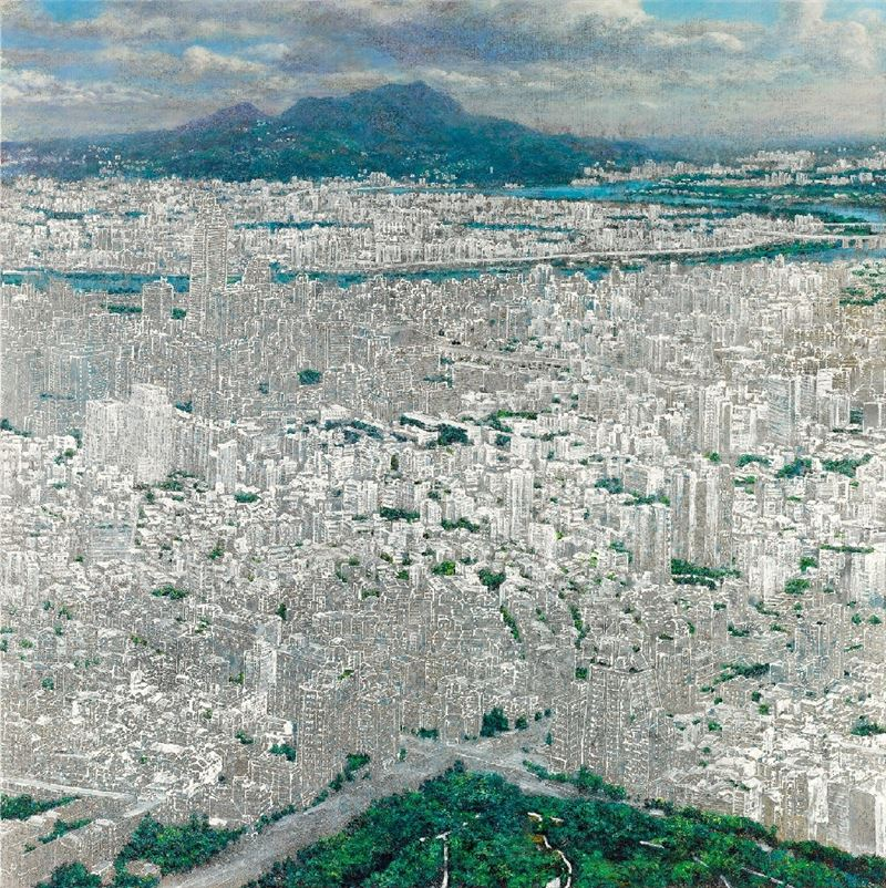 HUNG Tien-Yu〈City in Blanks (Guanyin Mountain)〉2013 Acrylic on canvas 174×174 cm