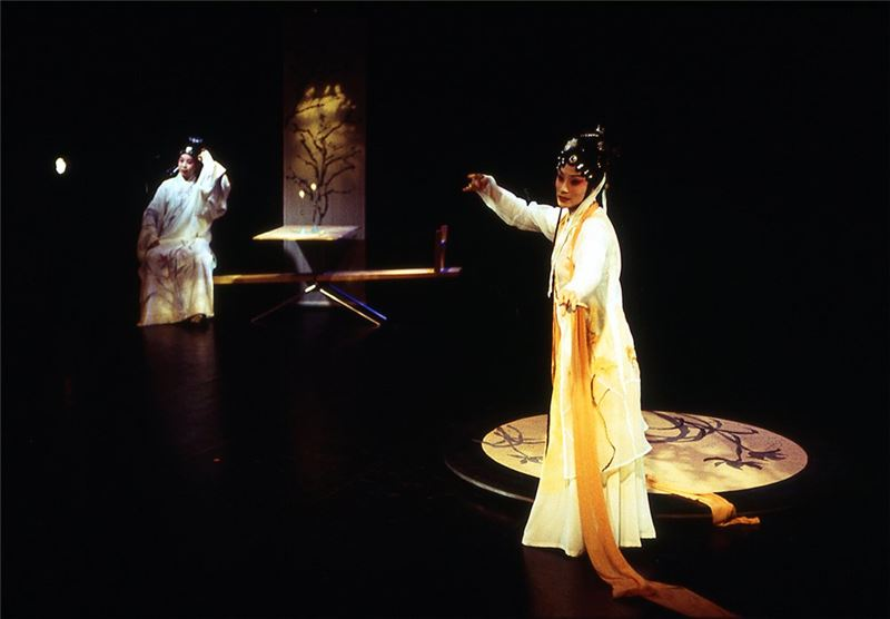 "A scene in "" The Peony Pavelion "" (2004). (Yang Han-ru as Liu Meng-mei and Chen Mei-lan as Du Li-niang)"