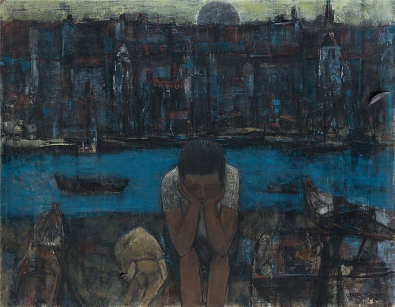 Pan Chau-sen〈By the Port〉1976 Oil on canvas 90×115 cm