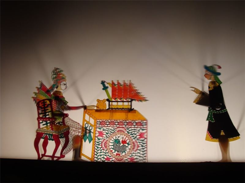 """A scene from """" The Five Generals' Conquering of the Western Region"""" that shows Wei Di-qing in the commander's tent, performed at Xian-wu Gong in Pingdong (2011)"""