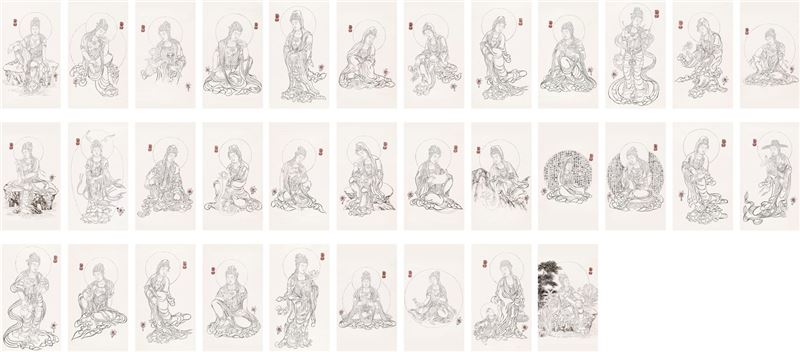 SHI Song〈Thirty-three Guanyin Bodhisttvas Drawings〉2010 Ink on paper 200×90 cm×33 pieces