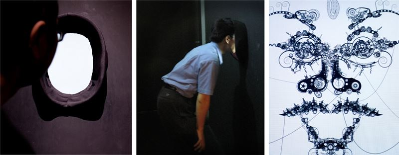 HUANG Hsin-Chien〈Expression Chassis〉2008 Interactive video installation(black and white, sound) 80×80×75 cm