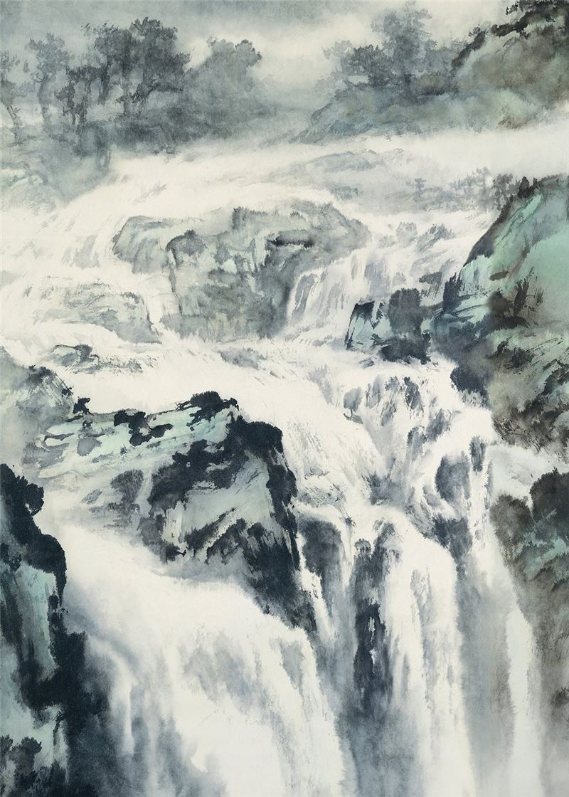 OU Hau-nian〈Rainbow and Waterfall〉Detail