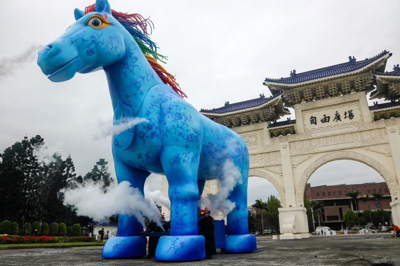 Blue horse statue placed in front of S.Y.S Memorial Hall