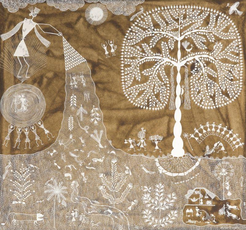 01 印度瓦力族生命之樹(Warli painting, INDIA)