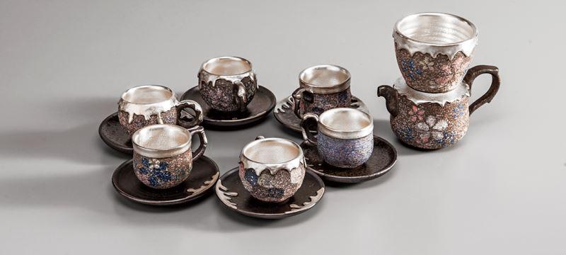 陶銀滿溢抑菌咖啡杯組