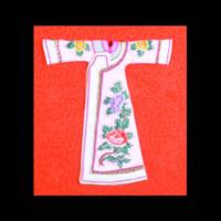 紅地牡丹白袍服