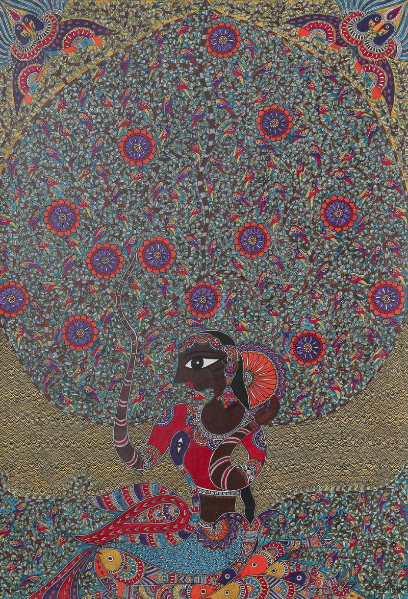 02 印度馬杜巴尼畫派生命之樹(Madhubani painting, INDIA)