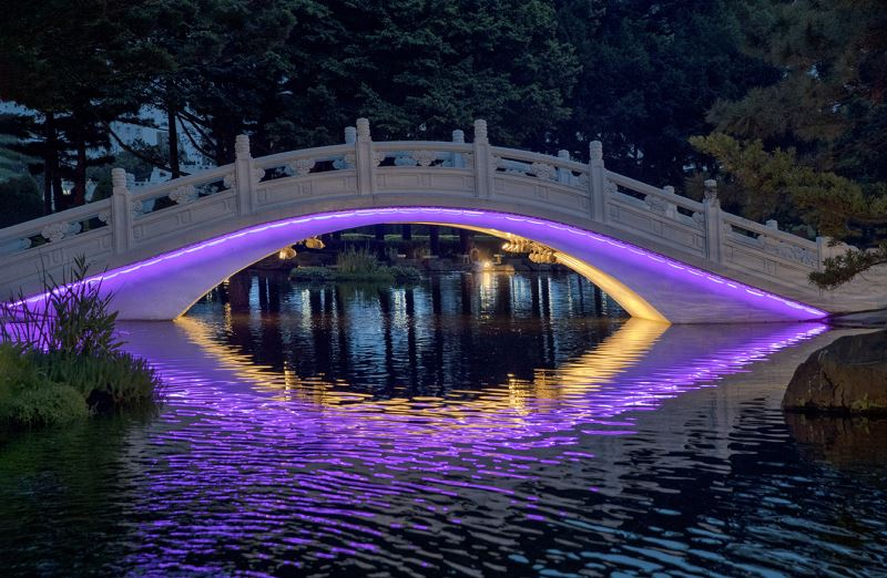 20190516 arch bridge Light night view (purple)
