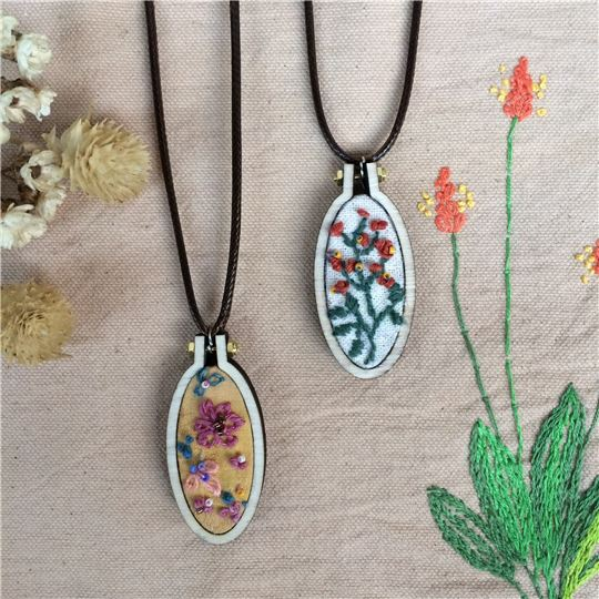 DIY體驗/植物染線刺繡項鍊