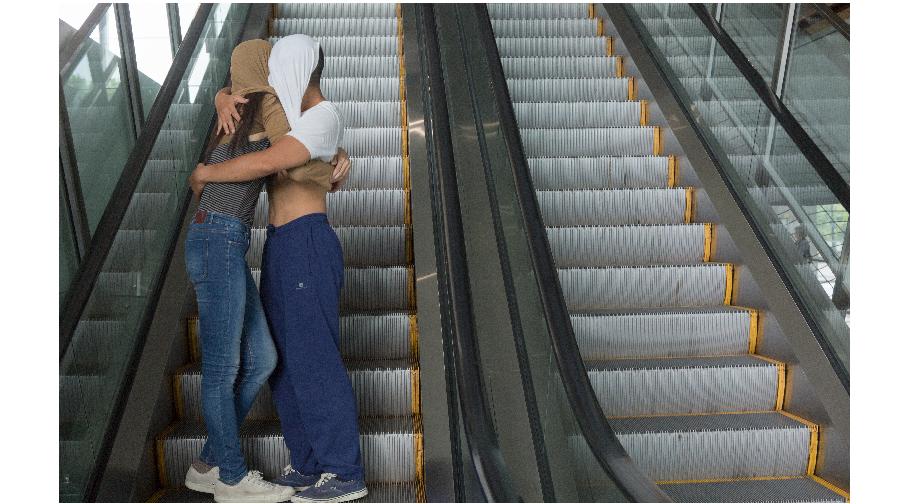 Art History on Escalators - River Lin au Centre Pompidou