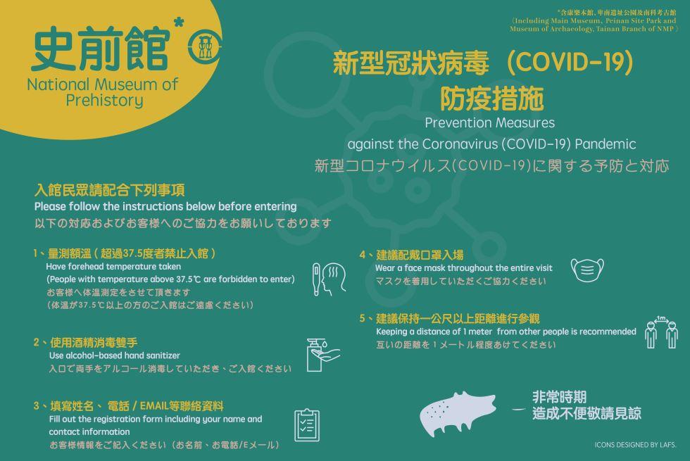史前館新型冠狀病毒(COVID-19)防疫措施