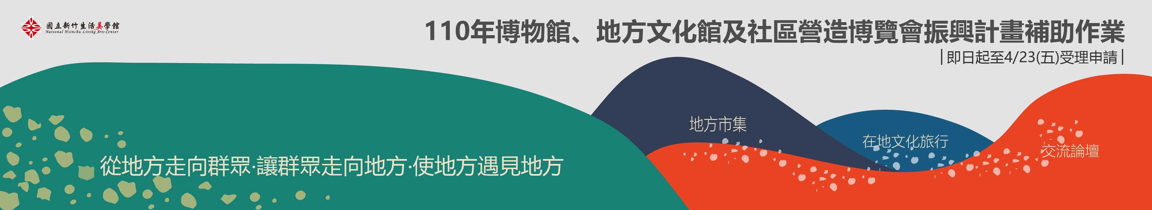 110年博物館、地方文化館及社區營造博覽會振興計畫補助作業,即日起至4/23(五)以前受理申請~