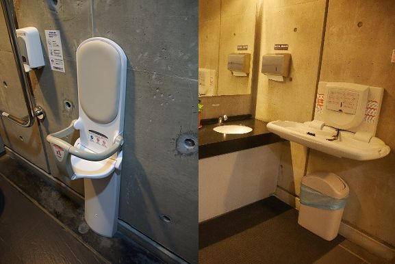 廁間內增設兒童安全座椅;男、女廁增設換尿布臺