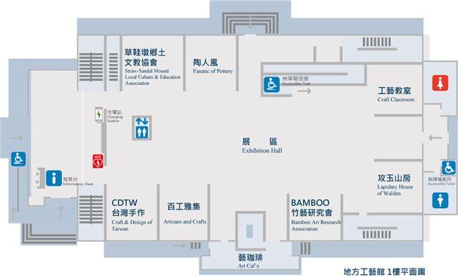 地方工藝館1樓主題展覽及工藝團體進駐區平面圖