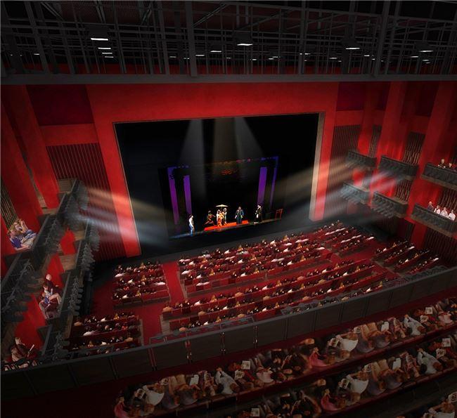 古代貴族使用的酒紅、朱紅色系為大表演廳主色,讓觀眾們可以在尊榮之中享受看戲的樂趣。