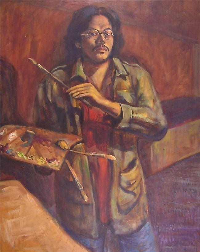 謝宇威大三時的自畫像-1991。