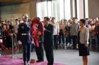 中華民國第十二、第十三任馬英九總統於國父孫中山先生152年誕辰紀念日向國父銅像獻花致敬,由本館楊同慧副館長代表接待。
