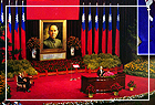 The sixth ROC president and vice president inauguration ceremonies held at the memorial's auditorium, at which, Mr. Chiang Jing-kuo was sworn in to office, marked by a musical concert celebrating the sixth ROC president and vice president inauguration ceremonies.