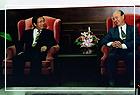 陳水扁市長蒞臨本館作「台北建設與廉能新氣象」演講,陳市長與曾館長合影