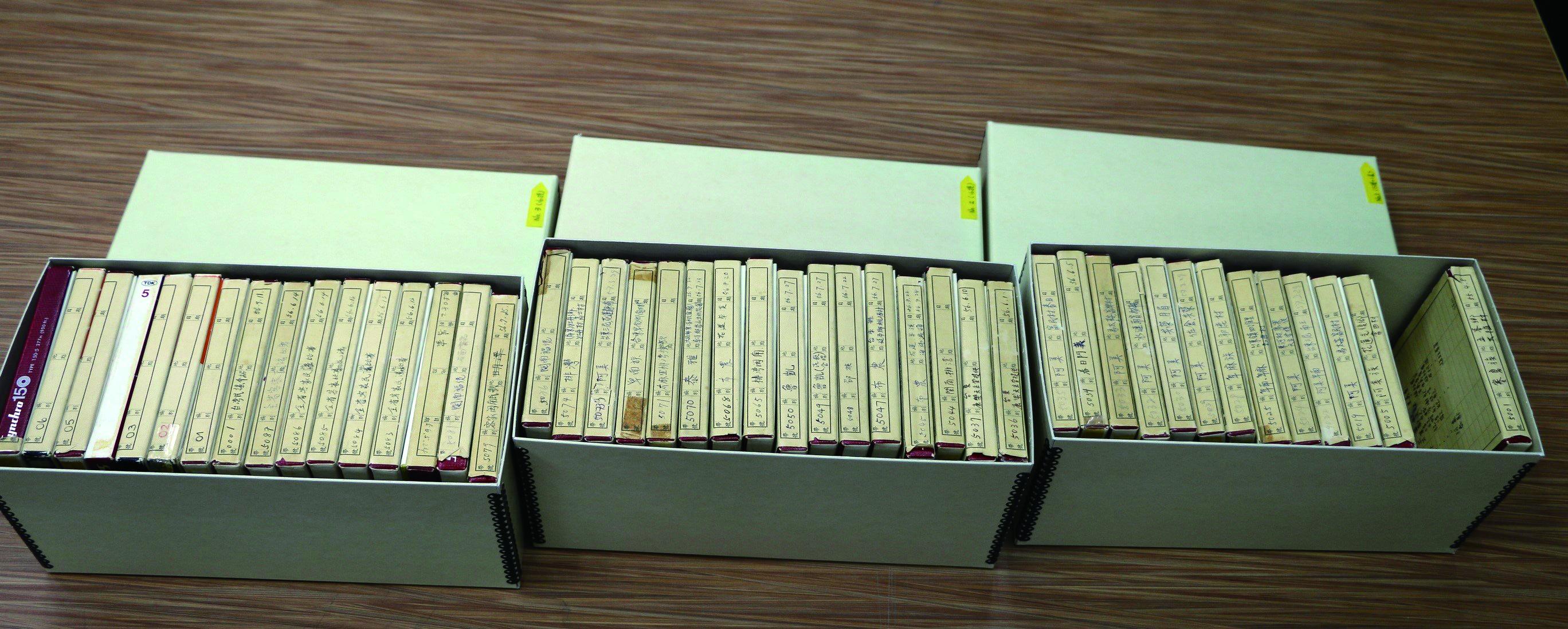 歐樂思神父細心地保存著的有聲錄音盤,雖經過近半個世紀的閒置,由於保存得當,仍完好如初,於2013年將其永久出借給國立臺灣師範大學數位典藏中心,進行保存與研究。.jpg