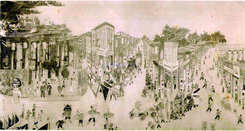 圖4 1929 年第三屆臺灣美術展覽會,展出施玉山的〈朝天宮之祭〉以當時頗受歡迎的民俗活動為題材,其中不難發現龍鳳獅的身影。(圖吳登興提供,出處:台灣美術展覽資料庫).jpg