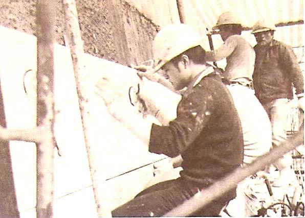大理石牆面施工情形
