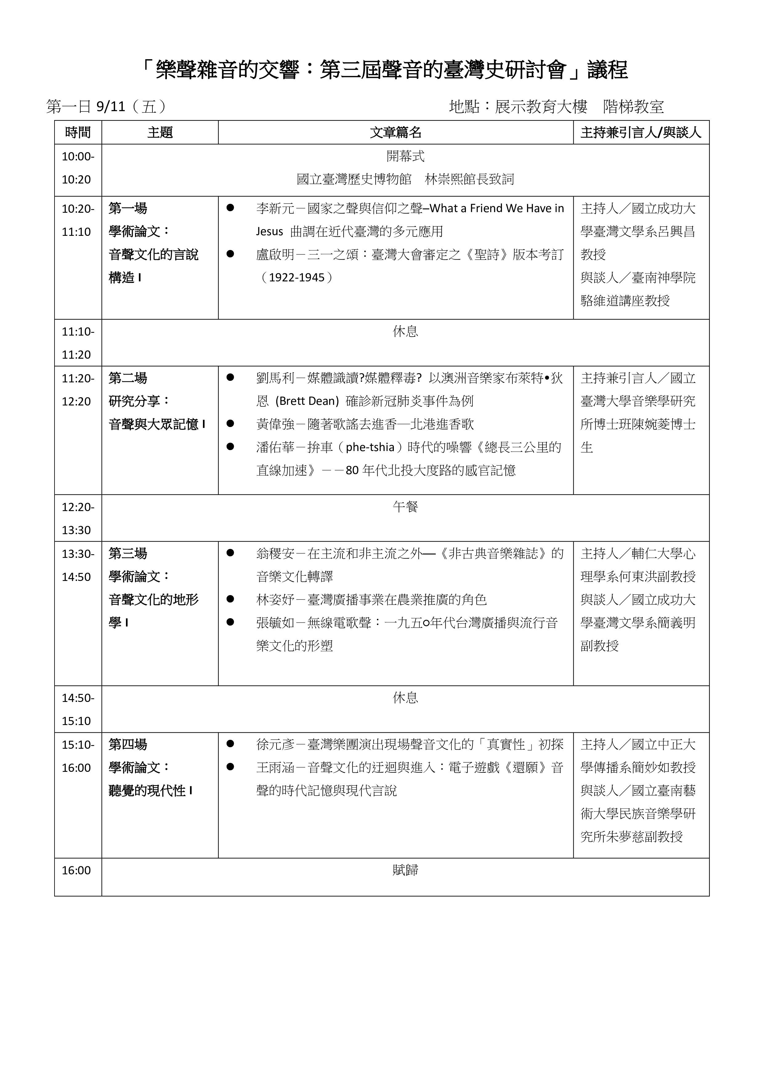 聲音的臺灣史研討會議程第一天