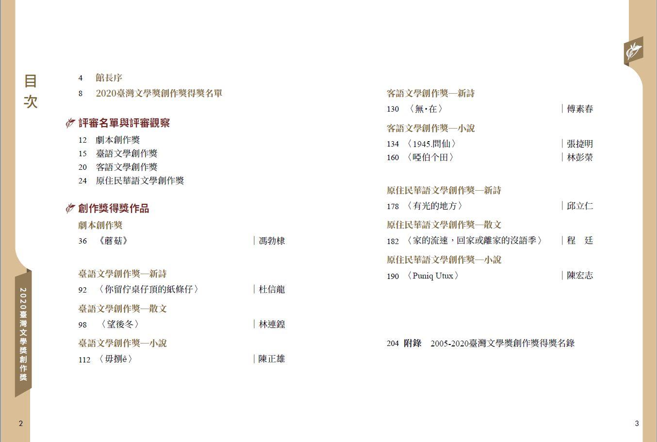2020臺灣文學獎創作獎得獎作品集-目錄.JPG
