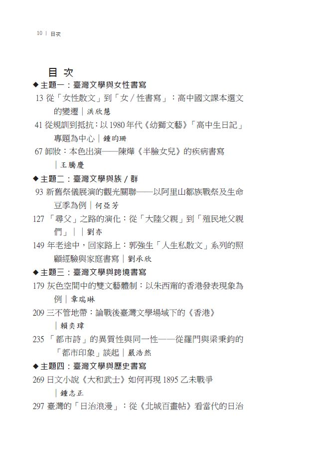 躍界x 臺灣x 文學 第十七屆全國臺灣文學研究生學術研討會論文集-目錄1.JPG