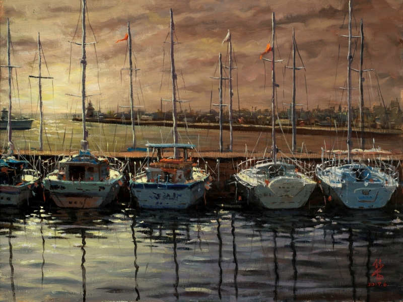 """Su Jin-jie """"Sunset at the Harbor"""""""