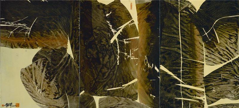 李錫奇〈墨語0208〉2002 水墨、紙本 109×236.6 cm