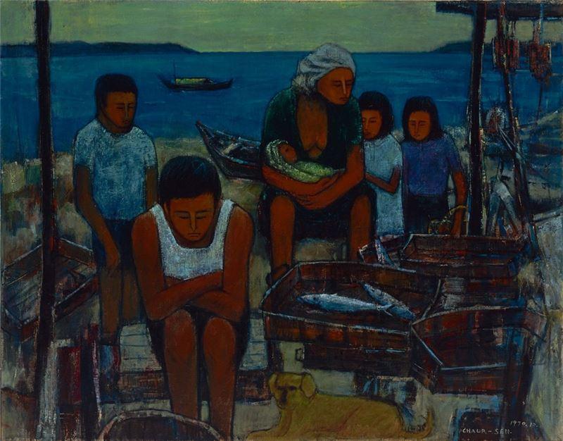 潘朝森〈等待〉1970 油彩、畫布 91×115.7 cm