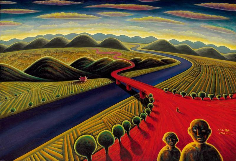 陳隆興〈黃昏的故鄉〉1994 油彩、畫布 89×130 cm