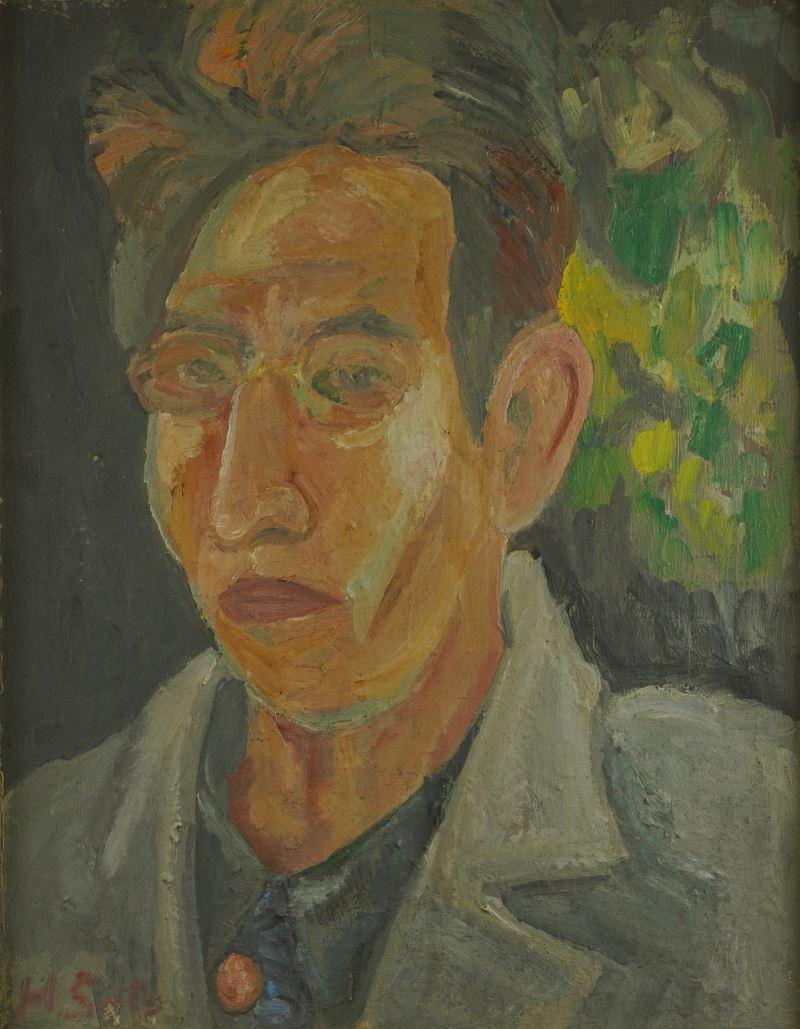 佐藤春夫親筆所繪的自畫像