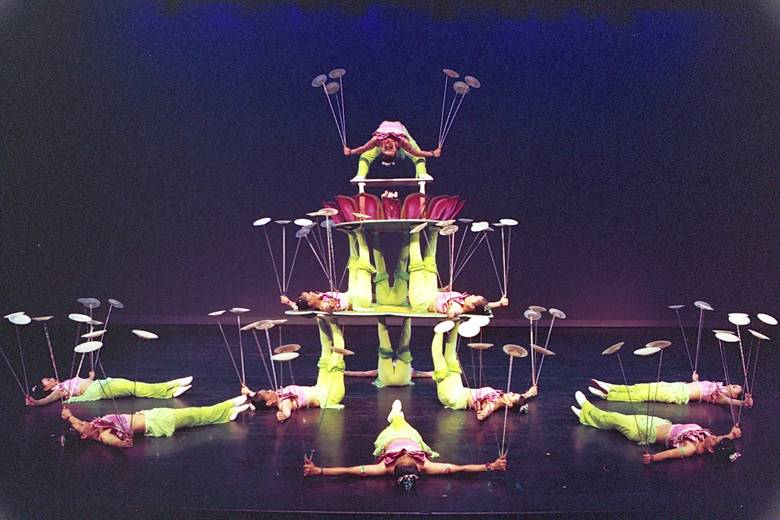 "A scene in the performance of "" Plate-turning Acrobatics"" ."