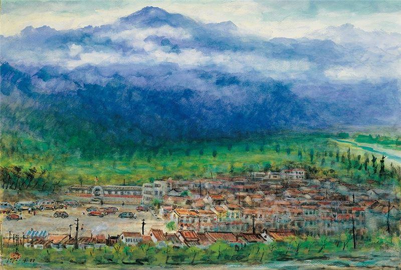 李澤藩〈東埔〉1982  水彩、紙本  54×78 cm