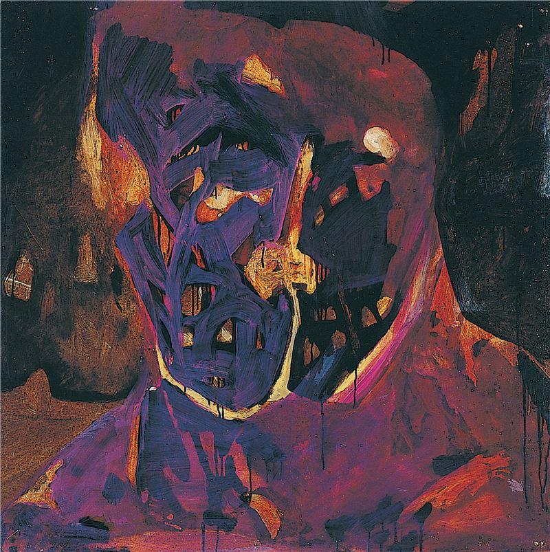 黨若洪〈人物,自我、犬〉2002 油彩、木板 122×122 cm