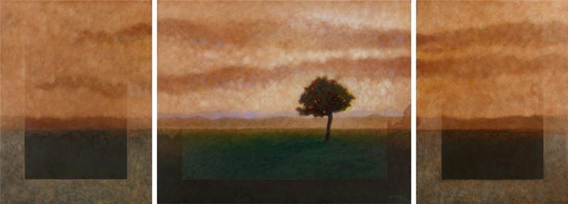 席慕蓉〈心中的樹〉2012 油彩、畫布 130.3×356 cm
