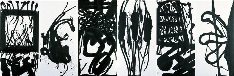 陳幸婉〈德國印象—聽了葛瑞斯基的第三交響曲之後〉1999  水墨、紙本  137.5×417 cm