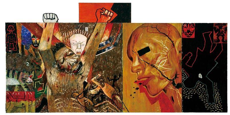吳天章〈傷害世界症候群 II〉1986 油彩、畫布 163×400 cm