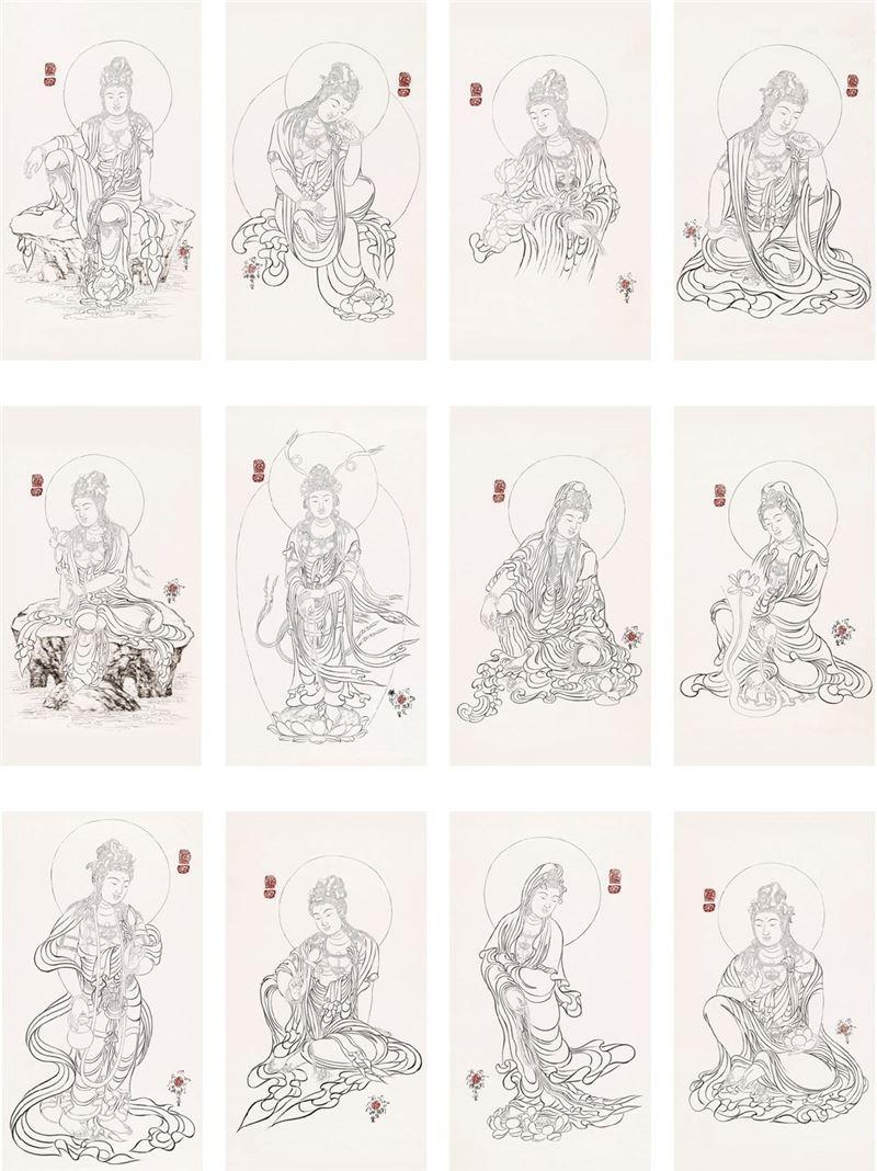 奚淞〈三十三白描觀音菩薩〉局部圖