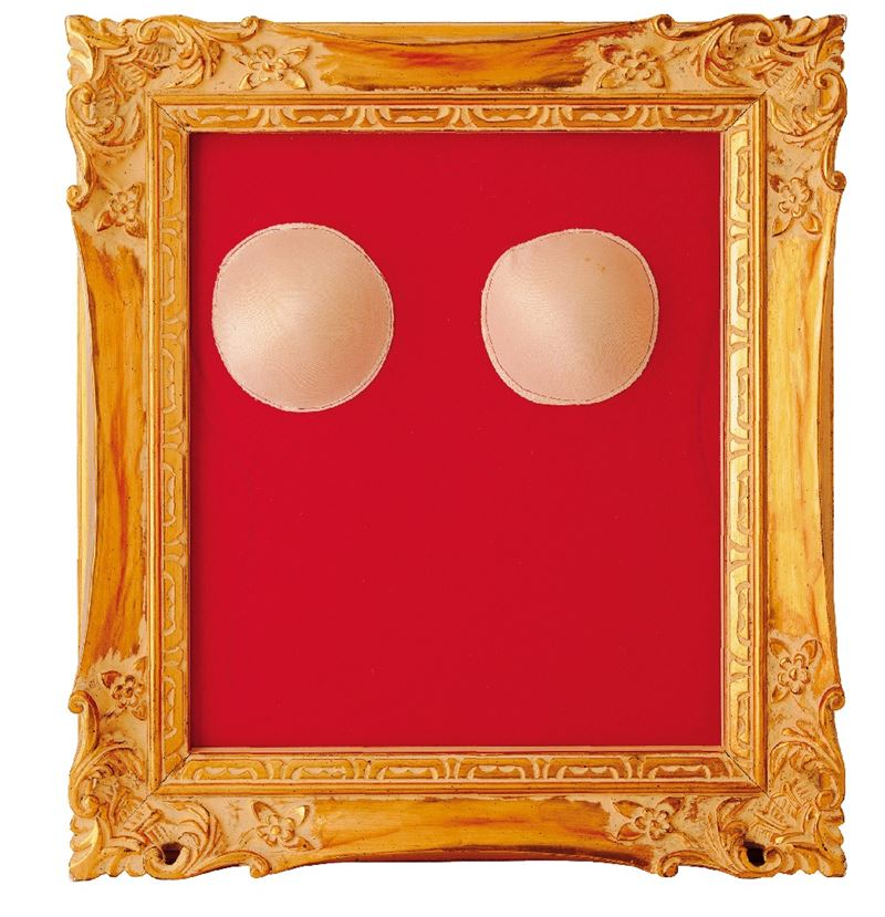 WU Ma-Li〈Gaze〉1992 Red cloth, sponge pads and golden frame 50×45×9 cm