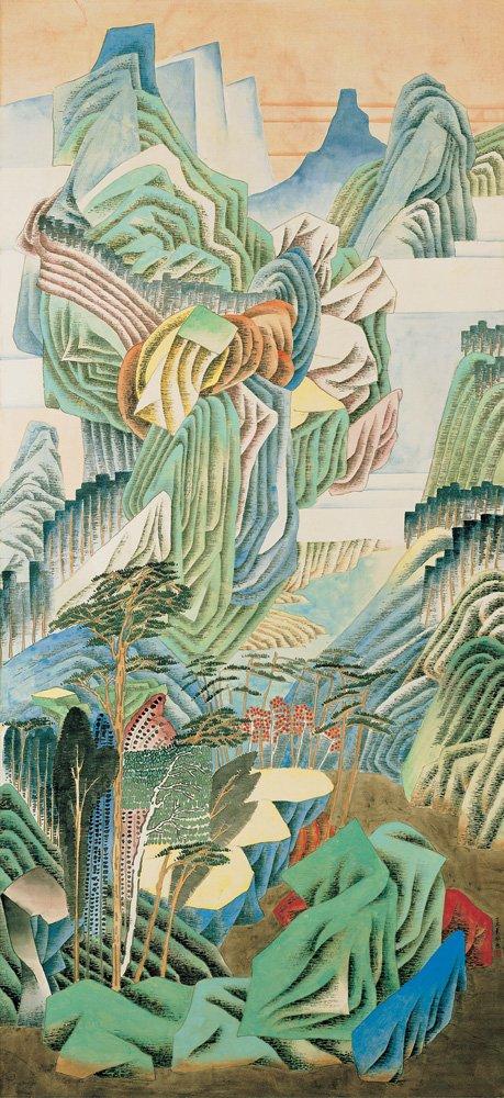 袁旃〈獨立〉1997 重彩、絹 182.2×87.6 cm