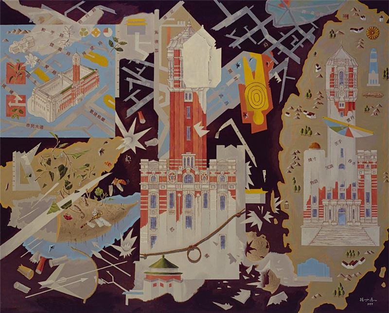 楊成愿〈新舊交替臺灣總督府〉1999 油彩、畫布 130×162 cm