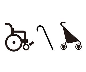 輪椅、枴杖、娃娃車的符號