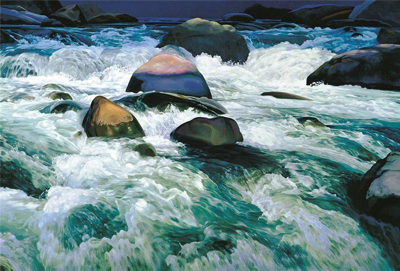 林惺嶽〈激流〉1994 油彩、畫布 197×291 cm