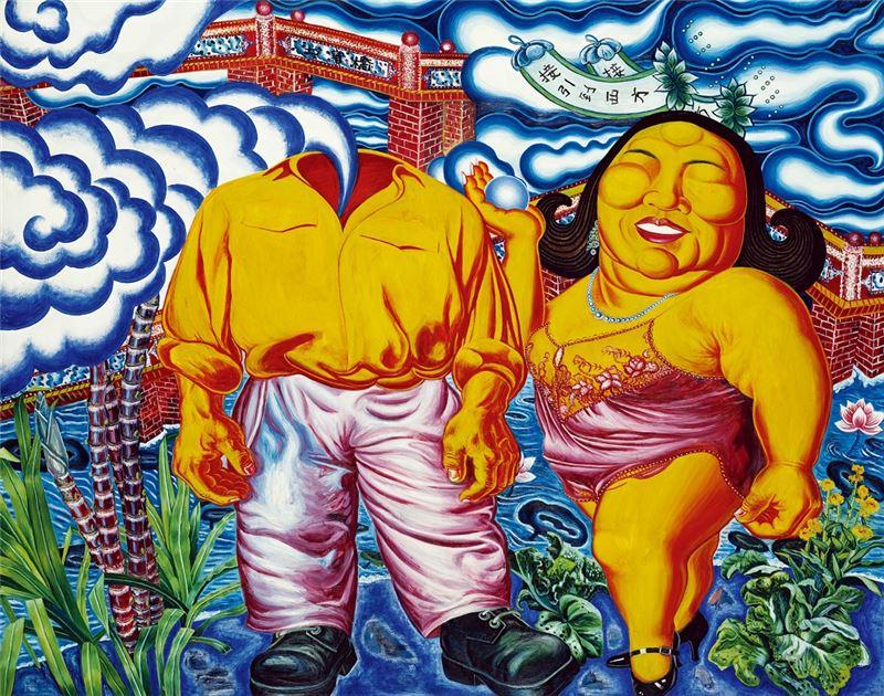 黃進河〈接引到西方〉1991 油彩、畫布 165×210 cm