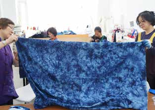 Students research indigo dyeing