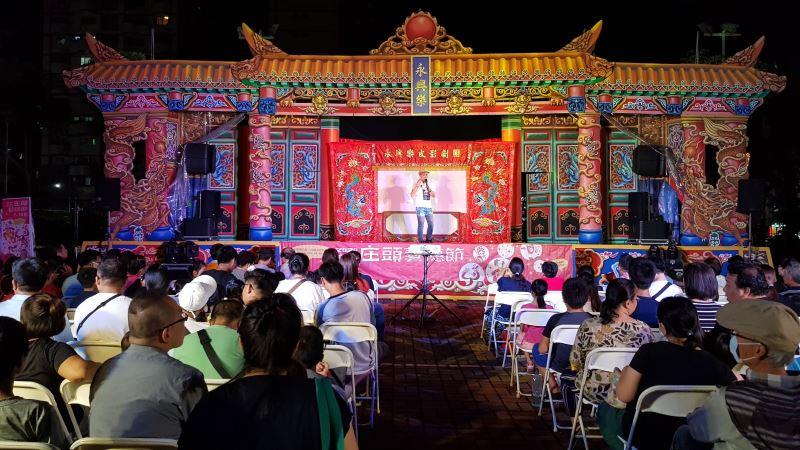 永興樂皮影劇團致力於皮影戲推廣;圖為其參與2020高雄庄頭藝穗節演出畫面。